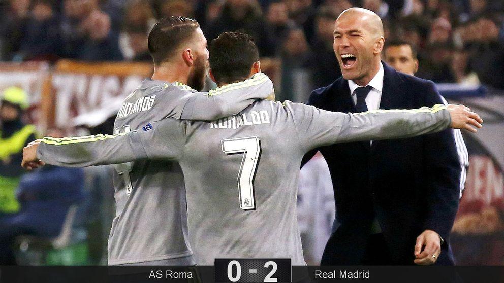 Cristiano tapa bocas y abraza a Zidane, que debuta con una victoria en Europa