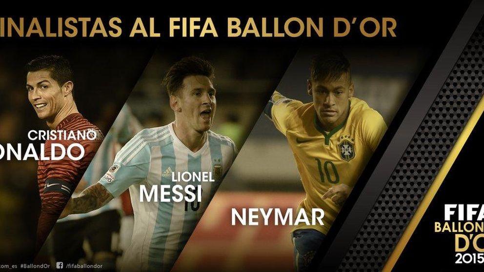 Messi, Neymar y Cristiano, los tres finalistas al Balón de Oro de 2015
