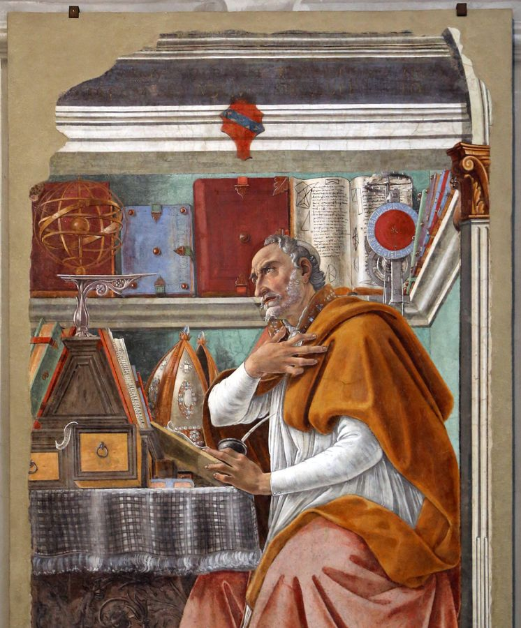 Foto: 'San Agustín en su gabinete', pintura de Sandro Botticelli que se encuentra en la Iglesia de Ognissanti, Florencia (Wikipedia)