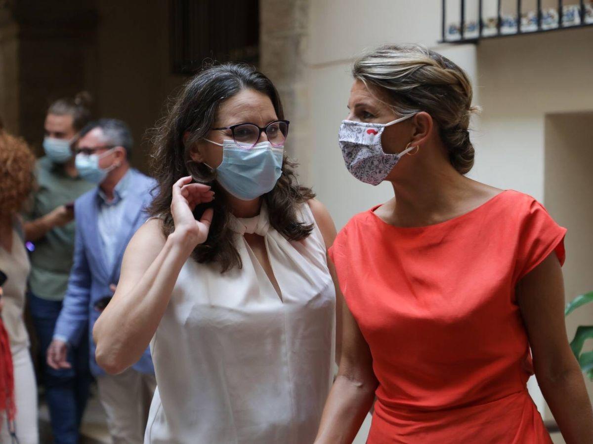 Foto: Mónica Oltra y Yolanda Díaz, en Valencia. (GVA)