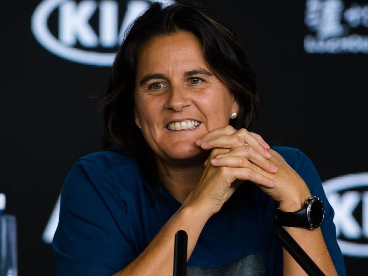 Foto: Conchita Martínez, durante una rueda de prensa en el Open de Australia. (WTA)