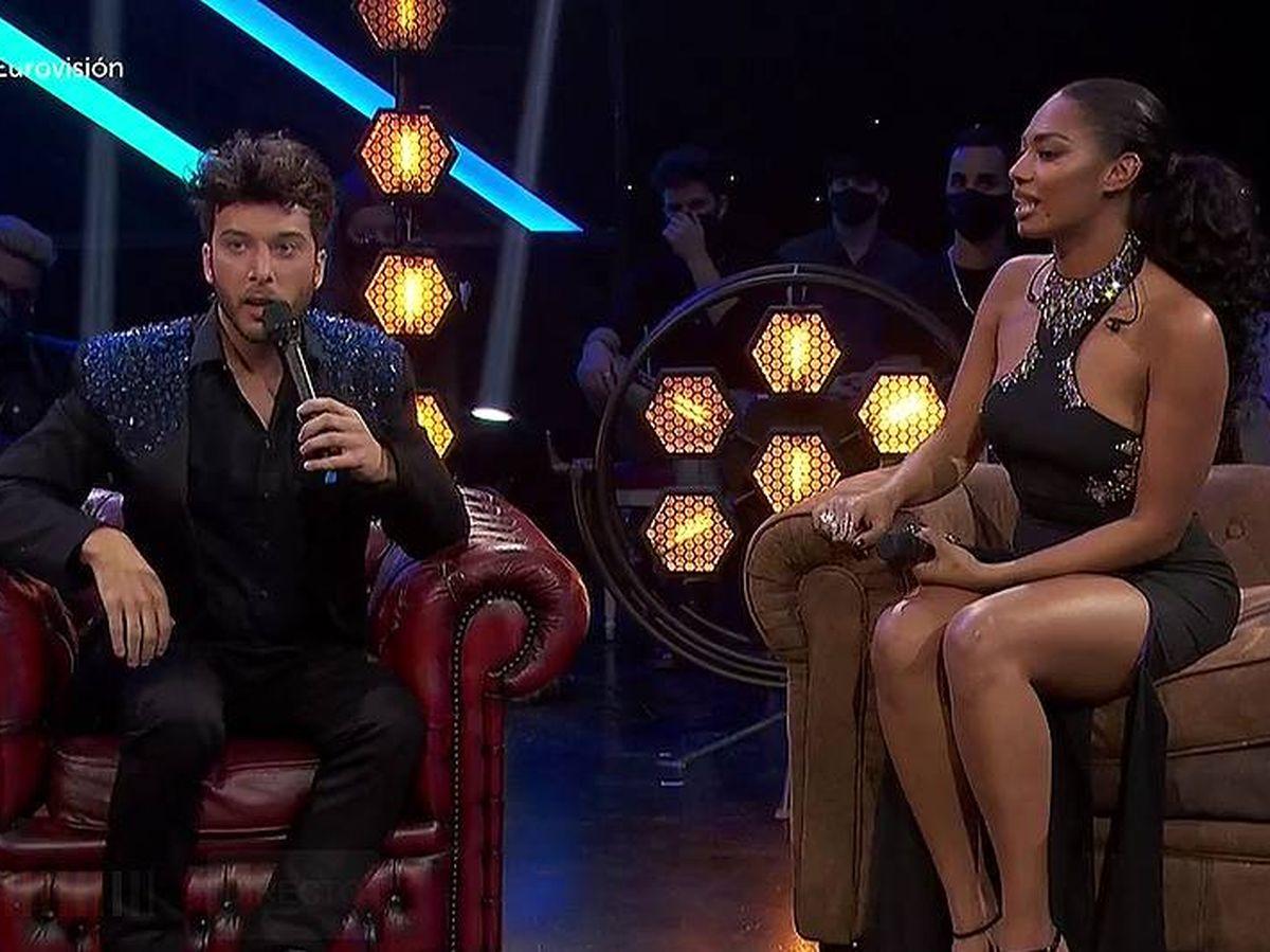 Foto: Blas Cantó y Nia, en 'Destino Eurovisión'. (RTVE)