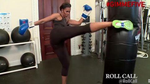 Michelle Obama golpea duro en sus entrenamientos en la Casa Blanca