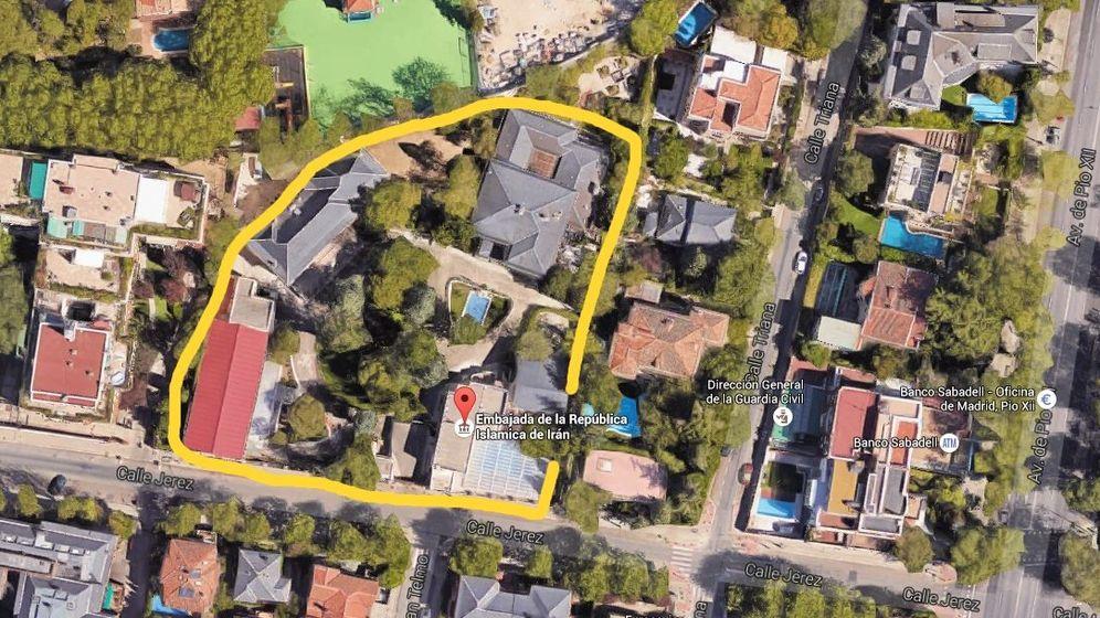 Foto: Vista aérea de las instalaciones de la embajada de Irán en la calle Jerez de Madrid. (Google Maps)