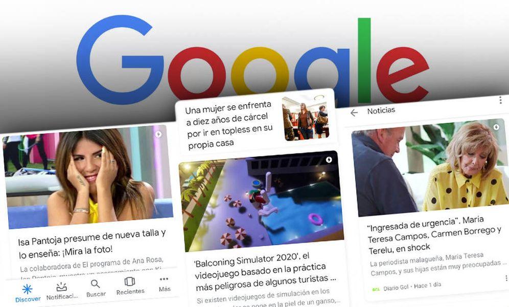 Foto: Algunas de las noticias que aparecen en Google Discover. (Montaje: EC)