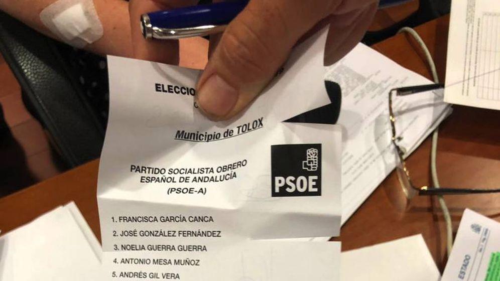 Foto: Papeleta con cortes en el lateral considerada como voto nulo y recurrida por el PSOE