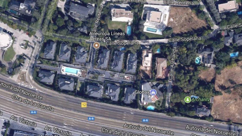 Vista aérea de la casa del difunto Miguel Blesa en Madrid.