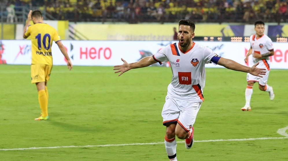 Foto: Ferrán Corominas celebrando un gol. (@FCGoaOfficial)