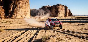 Post de Fernando Alonso empieza a sufrir en la segunda etapa del rally en Arabia Saudí