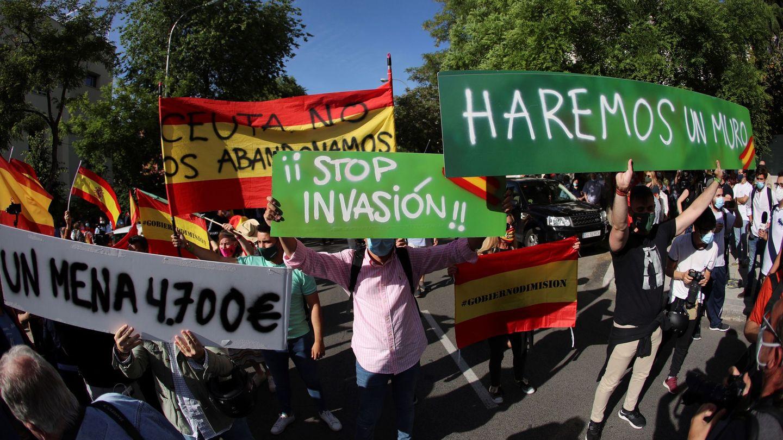Concentración frente a la Embajada de Marruecos en Madrid. (EFE)