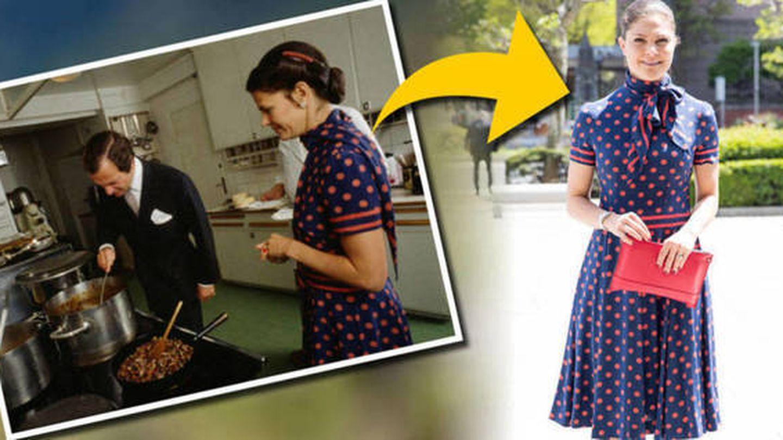 Victoria en Japón con un vestido de su madre. (Gtres)