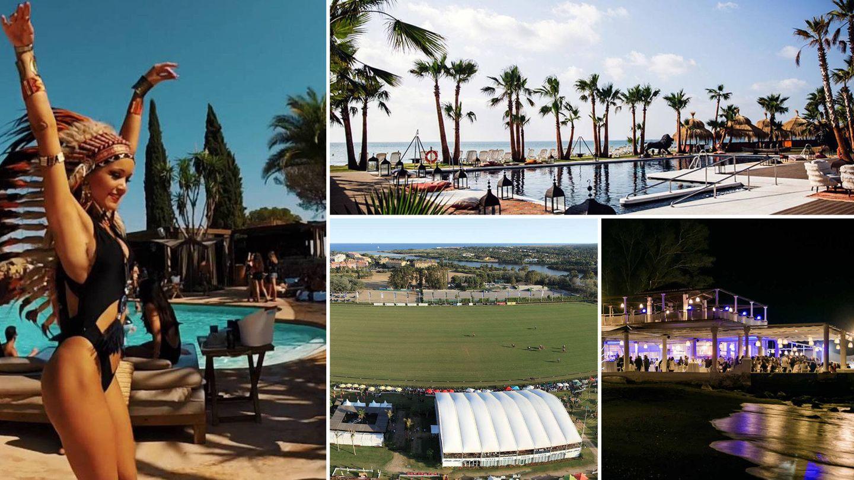 En sentido de las agujas del reloj: Nao Pool Club, Trocadero playa, vista nocturna de baños del Carmen e instalaciones de Santa María Polo Club en Sotogrande.