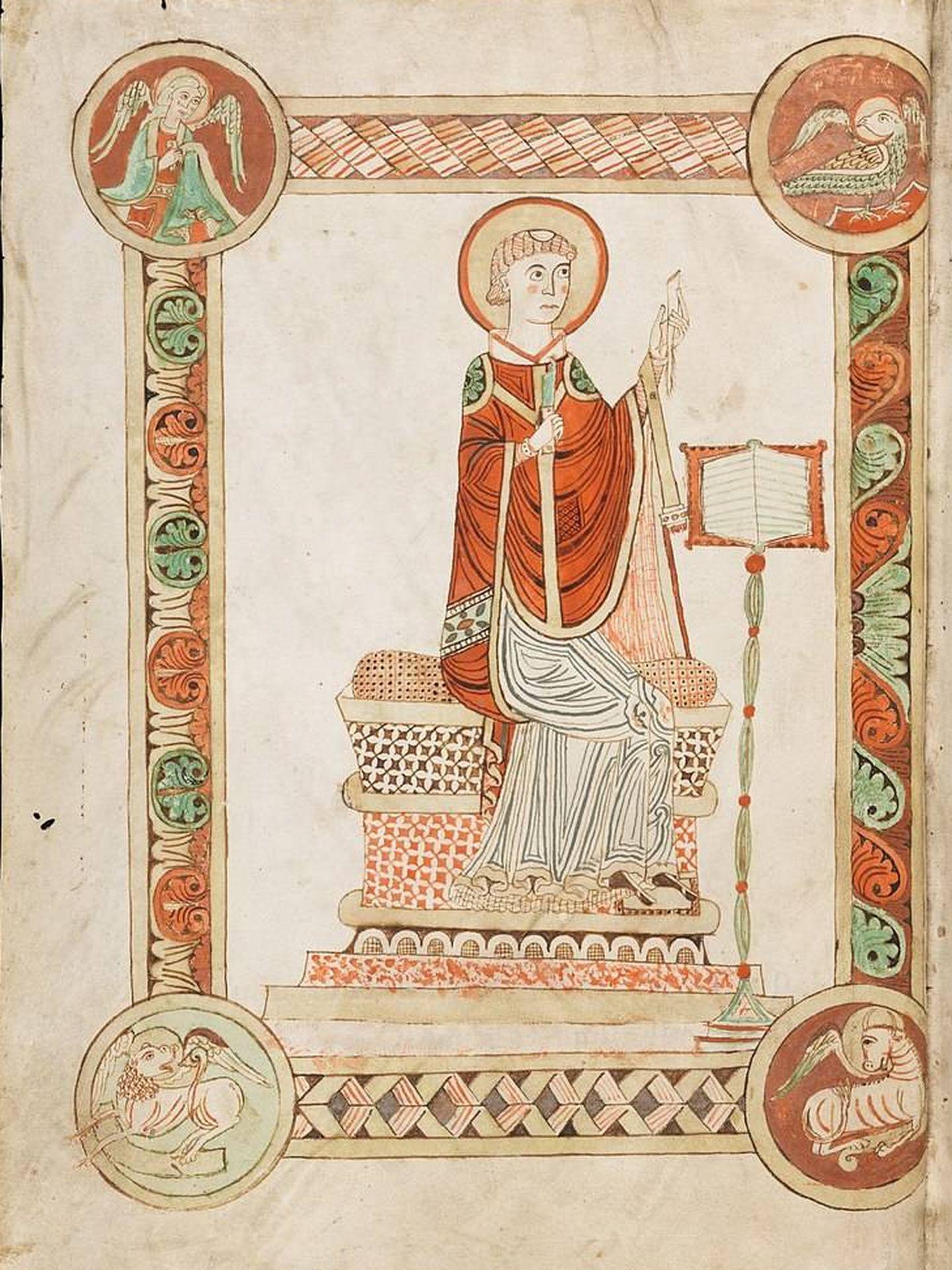 Beda escribiendo la Historia eclesiástica del pueblo inglés, ilustración de un códice en la abadía de Engelberg en Suiza. (CC)