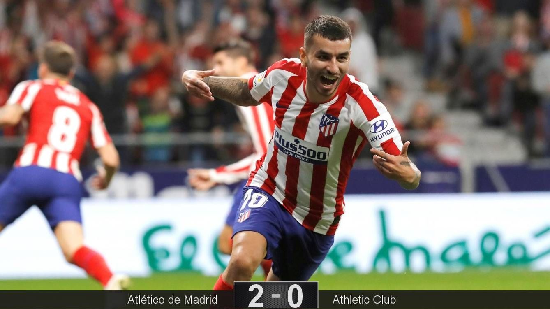 Foto: Ángel Correa celebra el gol de Saúl tras haber realizado una gran jugada personal. (EFE)