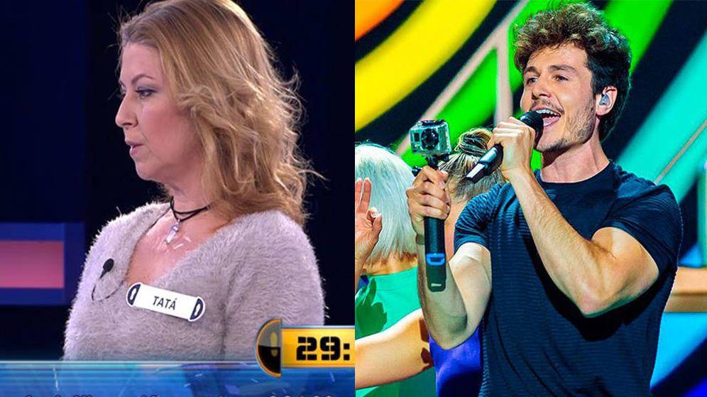Foto: La concursante de 'Ahora caigo' y Miki Núñez. (Atresmedia y RTVE)