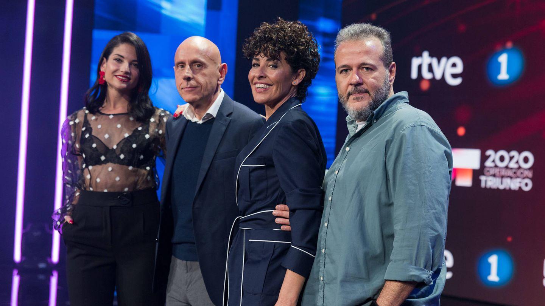 El renovado jurado de 'OT 2020', con Nina y Natalia Jiménez. (TVE)
