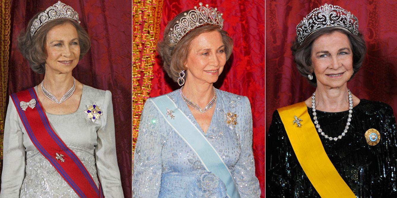 Doña Sofía con la tiara de Cartier, la rusa y la de la flor de lis