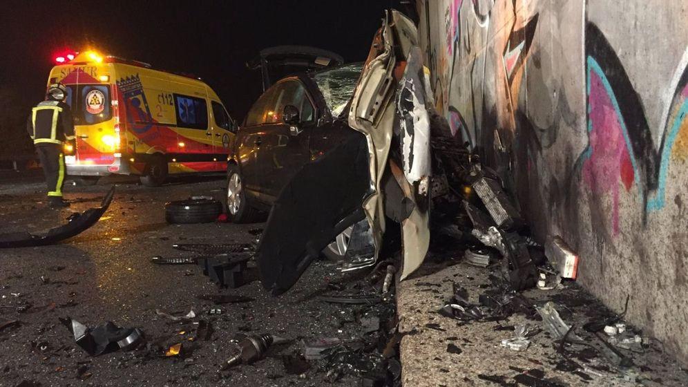 Foto: Imagen del accidente de la M-50, provocado por el conductor 'kamikaze'. (EFE)