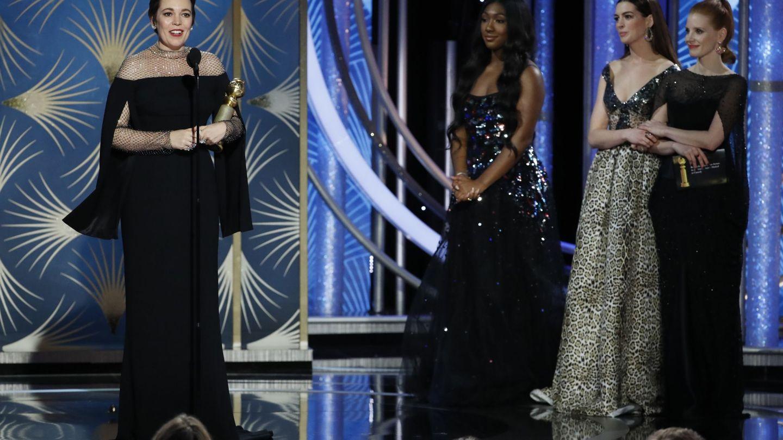 Olivia Colman agradeciendo su galardón. (Reuters)