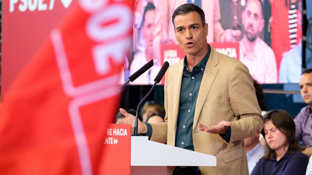 Foto: Pedro Sánchez en un acto electoral en Logrño (Efe)