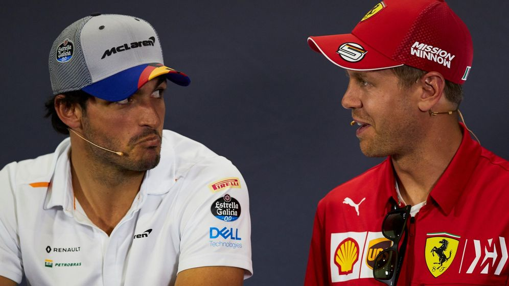 Foto: Carlos Sainz y Sebastian Vettel, en la rueda de prensa del GP de España