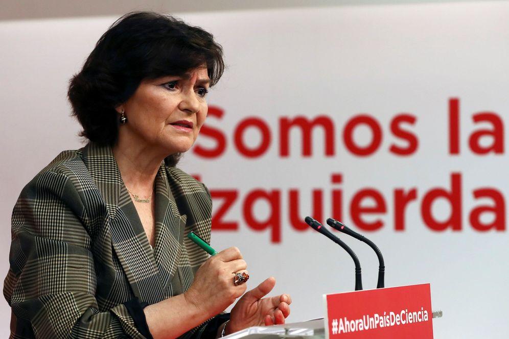Foto: La secretaria de Área de Igualdad de la ejecutiva del PSOE, Carmen Calvo, este 16 de febrero. (EFE)