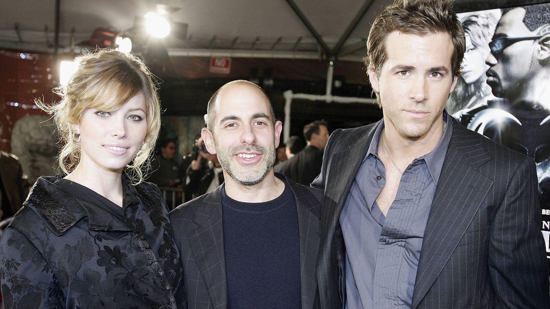 El actor junto a Jessica Biel y el director de 'Blade: Trinity', David Goyer. (Getty)