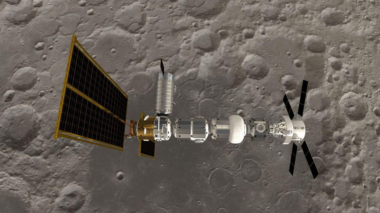 Satélite Gateway, una estación espacial situada a unos 400.000 kilómetros de distancia entre la Tierra y la Luna. Foto: NASA y ESA