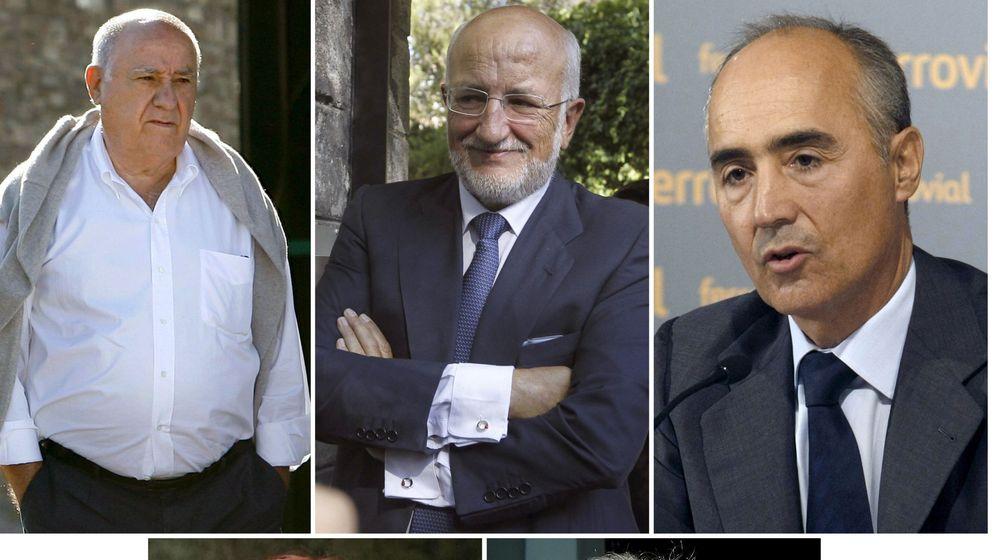Foto: De izquierda a derecha, fotografías de archivo de Amancio Ortega (Inditex), Juan Roig (Mercadona) y Rafael del Pino (Ferrovial).