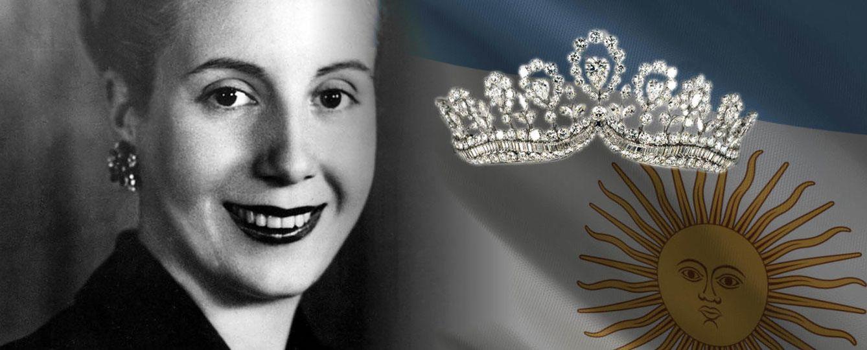 Foto: Eva Perón junto a la tiara de la polémica en un fotomontaje realizado por Vanitatis