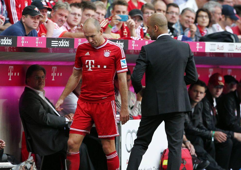 Foto: Robben y Pep Guardiola (Imago).