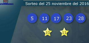 Post de Resultados del sorteo del Euromillones del 25 de noviembre de 2016