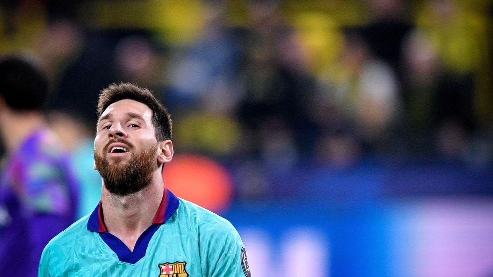 Foto: El gesto de desesperación de Messi después del empate contra el Borussia Dortmund. (Efe)