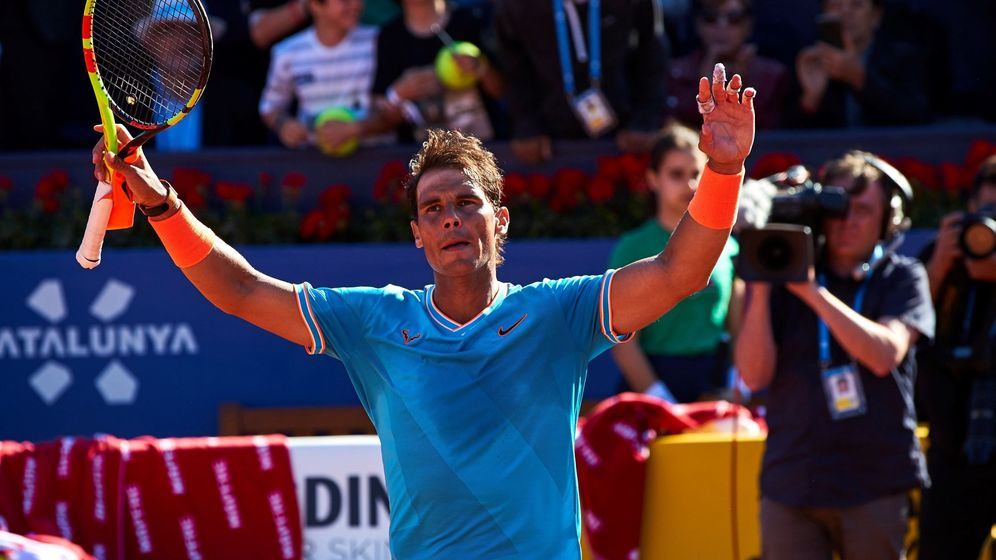Foto: Rafa Nadal, tras su victoria en su debut en Barcelona contra Leonardo Mayer. (EFE)
