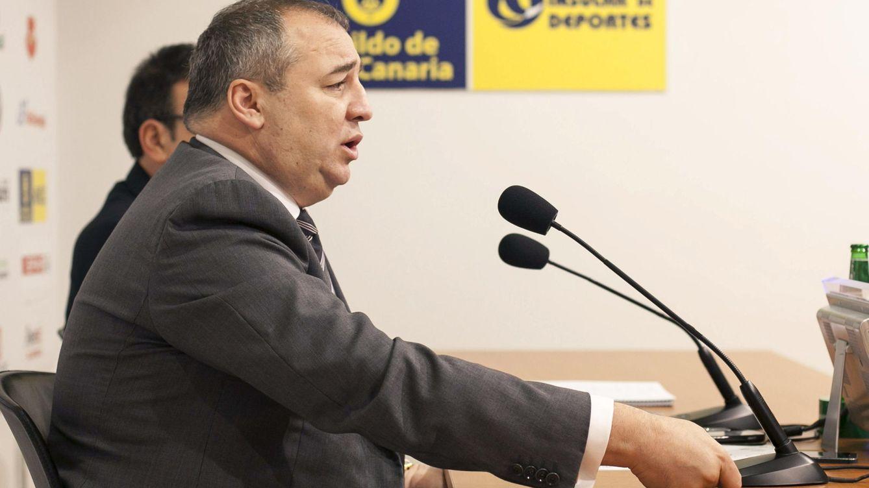 Foto: Miguel Ángel Ramírez, presidente de la UD Las Palmas y de Seguridad Integral Canaria y otras empresas del sector que se descuelgan del convenio colectivo. (EFE)
