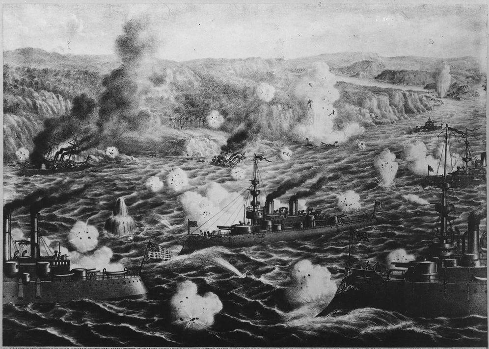 Foto: 'Destrucción de la flota del admirante Cervera en Cuba'. (Litografía de 1898)