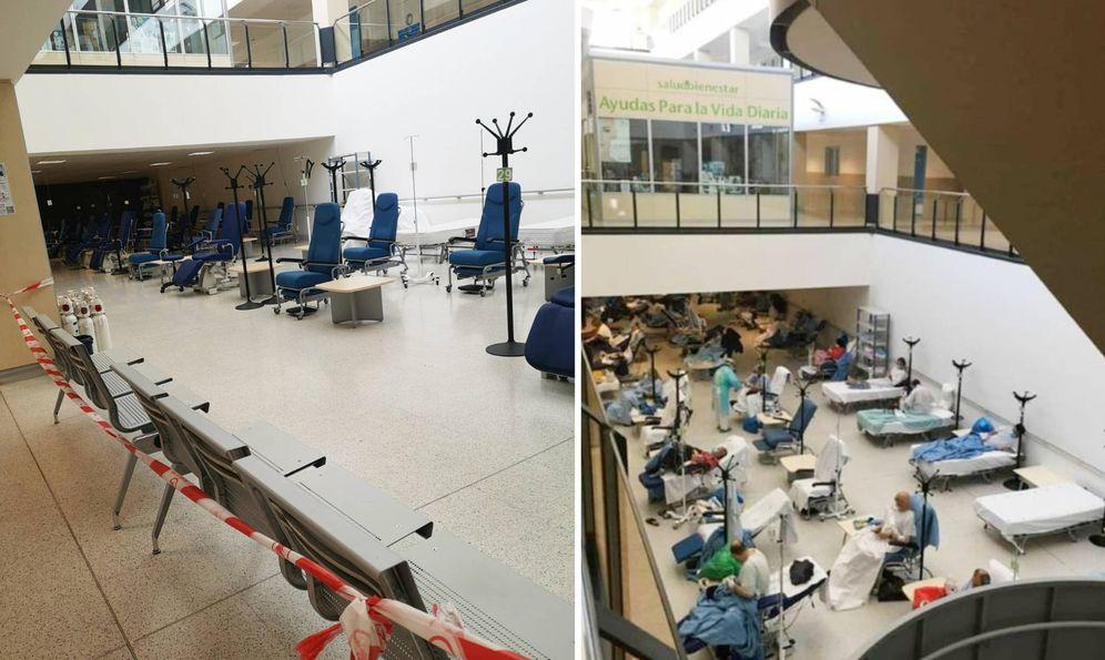 Foto: Hospital del Henares (Coslada) este 7 de abril (a la izquierda) y el 31 de marzo (a la derecha). (EC)