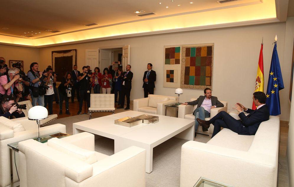 Foto: Pedro Sánchez y Pablo Iglesias, este 7 de mayo durante su reunión en la Moncloa. (Fernando Calvo | Moncloa)