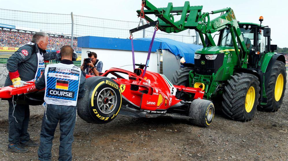 Foto: El monoplaza de Vettel tras su accidente. (REUTERS)