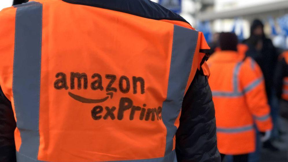 Foto: Amazon exPrime, uno de los lemas más repetidos esta mañana. (M.Mcloughlin)