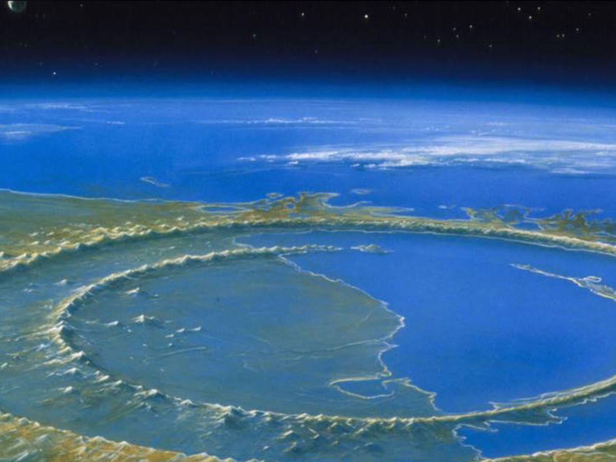 Foto: El cráter de Chicxulub, en la península de Yucatán, donde impactó el asteroide (Agencia Espacial Mexicana)