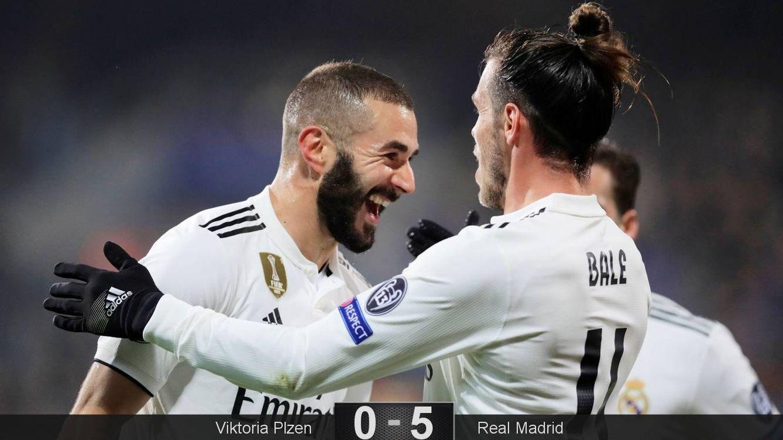 Foto: Benzema y Bale celebran el tercer gol del Real Madrid ante el Viktoria Plzen. (Reuters)