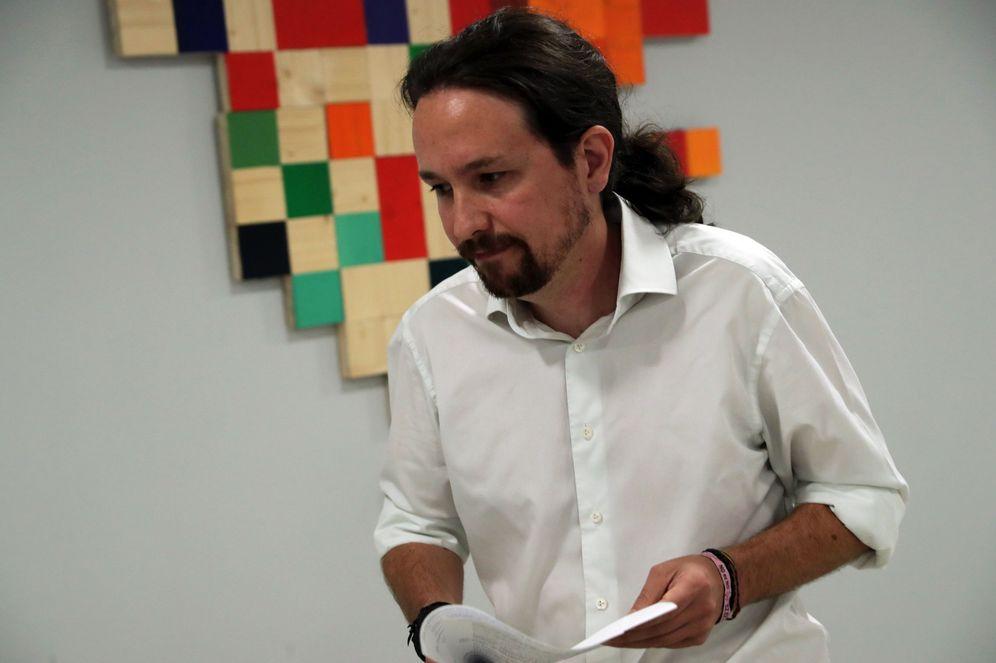 Foto: Pablo Iglesias, en una rueda de prensa sobre el 1-O. (EFE)