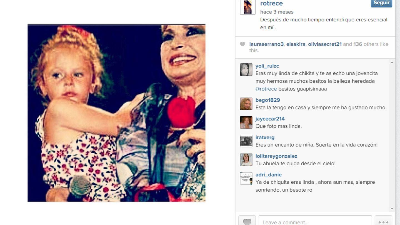 Mensaje enviado por Rocío Flores a su abuela (Instagram)
