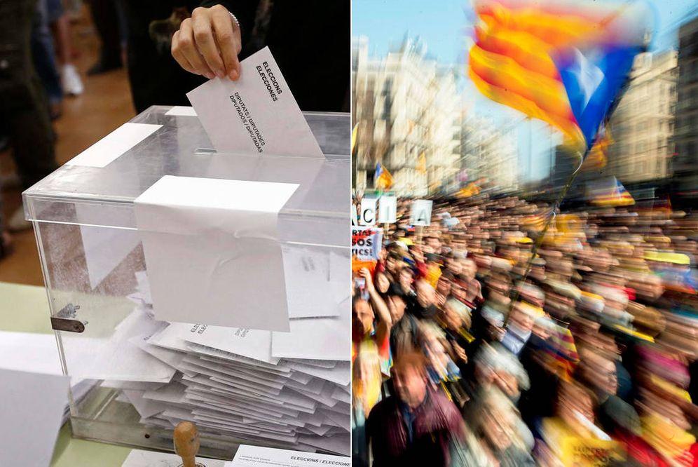 Foto: A la izquierda, una persona votando en las últimas elecciones generales. A la derecha, manifestaciones a favor de la huelga general en Cataluña. (EFE)