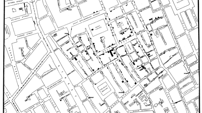 Foto: El mapa del colera que el médico John Snow creó en 1854 es considerado como un antepasado del concepto de periodismo de datos (Wikimedia Commons).
