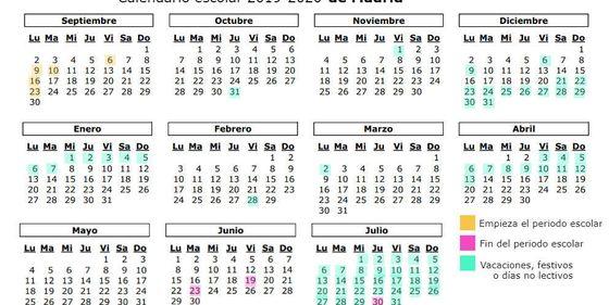 Calendario Laboral 2020 Madrid.Calendario Escolar 2019 2020 Cuando Es La Vuelta Al Cole En Madrid
