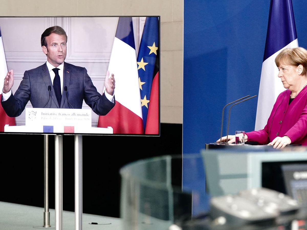 Foto: La canciller alemana, durante su rueda de prensa virtual con Macron. (Reuters)