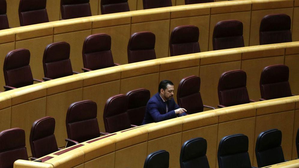 Foto: David Erguido, solo en el Senado, al inicio de la pandemia. (EFE)