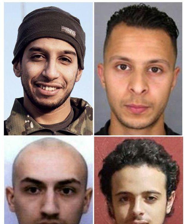 Foto: De arriba a abajo y de izquierda a derecha Abdelhamid Abaaoud, Salah Abdeslam, Bilal Hadfi y Samy Amimour (AFP)